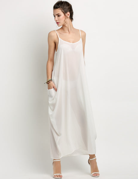 White Women Chiffon Spaghetti Strap Solid Loose Pocket Long Maxi Casual Dresses