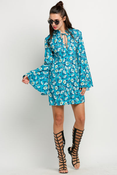 Green Retro Women Long Flare Sleeve Floral Mini Shift Casual Dresses
