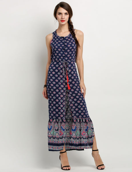 Women Sleeveless Backless Drawsting Waist Slit Print Long Maxi Dress