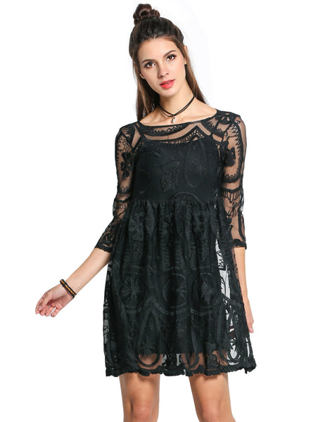 3/4 Sleeve Crochet Lace See-through Casual Dress