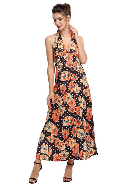 Yellow Women Halter Strap Floral Print Maxi Long Going Out Dresses