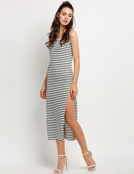 Black&White Women Round Neck Sleeveless Striped Side Split Long Maxi Casual Dresses