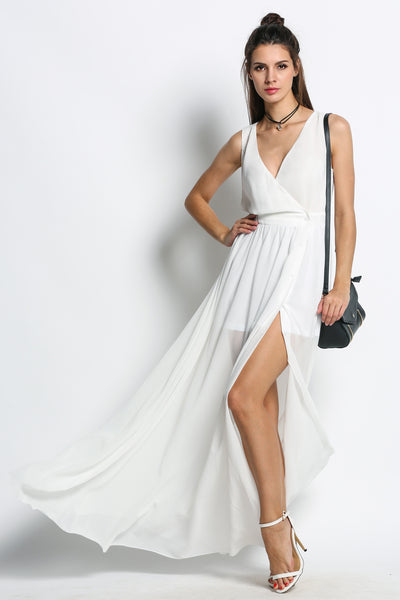 White V-Neck Sleeveless High Side Slit Maxi Long Casual Dress