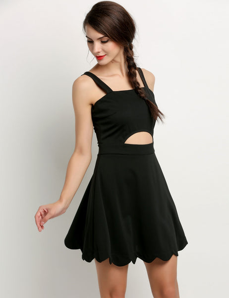 Black Women Strap Backless High Waist Mini A-Line Sundress Going Out Dresses