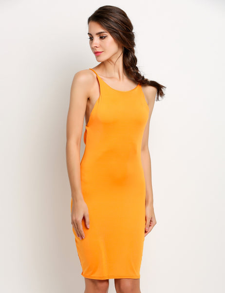 Orange Women Sleeveless Backelss Bodycon Solid Slim Going Out Dresses