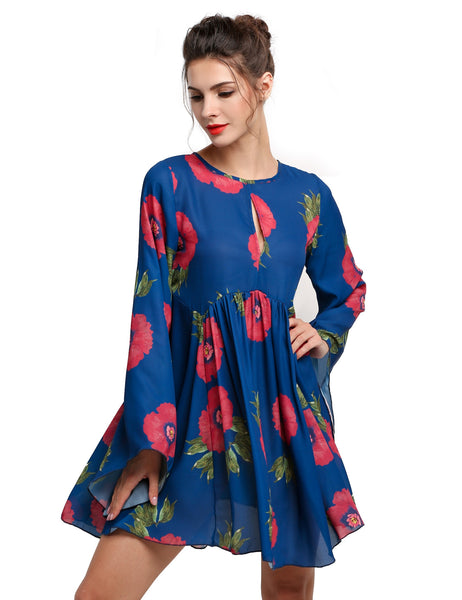 Blue Ethnic Style Women Long Flare Sleeve Floral Print Mini Going Out Casual Dresses