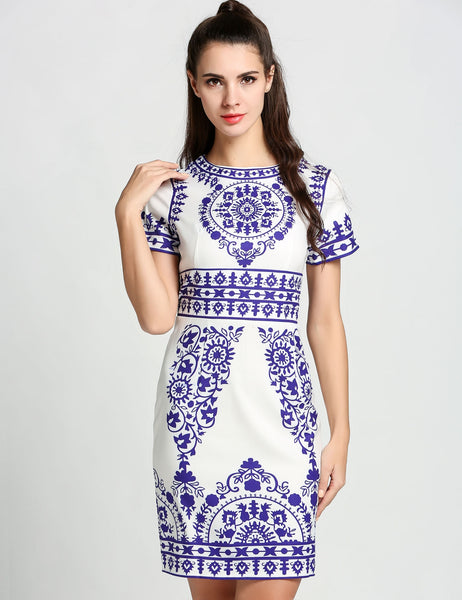 White Short Sleeve Print Chiffon Bodycon Pencil Going Out Dress