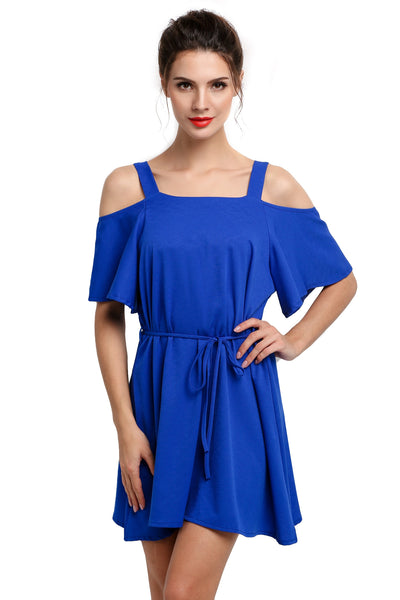 Blue Women Off the Shoulder Casual Mini Going Out Dresses