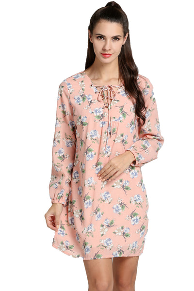 Pink Women Lace Up V-Neck Long Sleeve Floral Short Casual Dresses