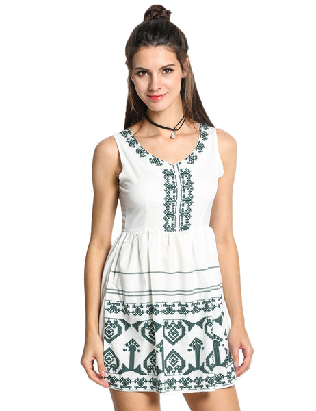 Women V-Neck Print Sundress Slit Back Sleeveless Mini Dress