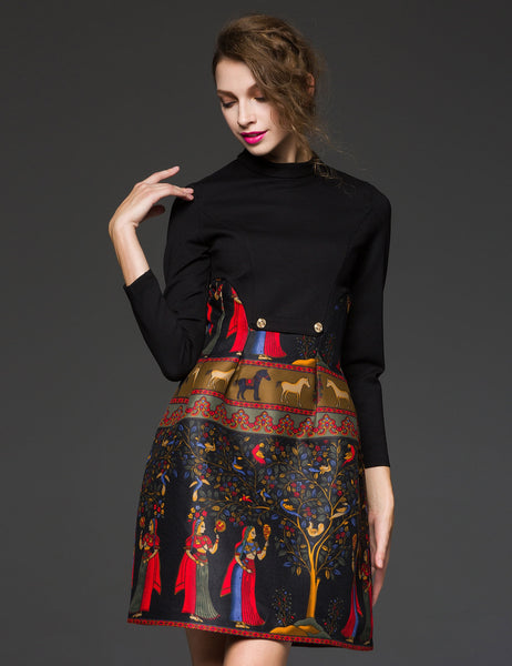 Long Sleeve High Waist Print Patchwork A-Line Short Dress