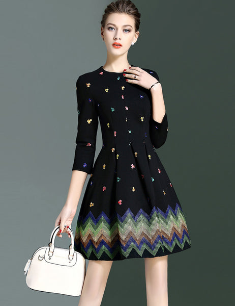 Slim 3/4 Sleeve High Waist Floral Embroidery A-Line Short Dress