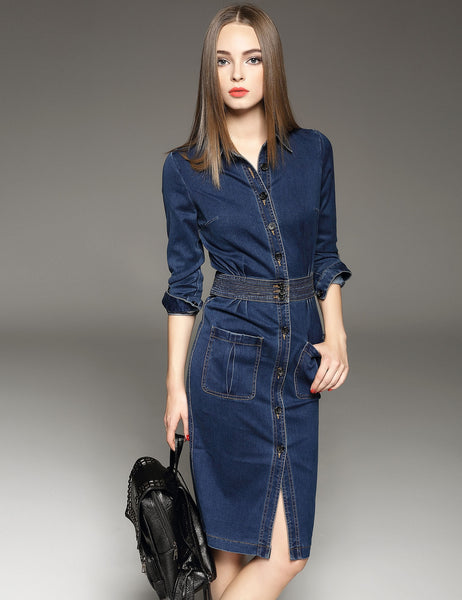Turn Down Collar Long Sleeve High Waist Solid Button Down Short Denim Dress