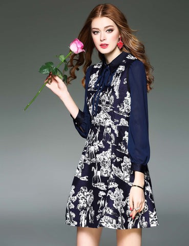Dark Blue  Casual Turn-down Collar Lantern Sleeve Prints False Two Pieces Work Dresses