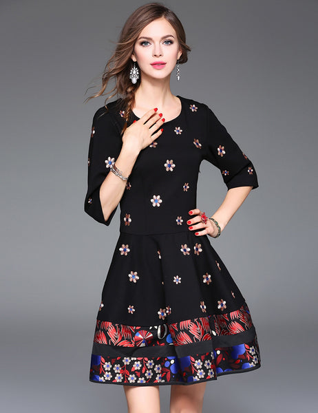 3/4 Sleeve High Waist Floral Patchwork Embroidery A-Line Short Dress