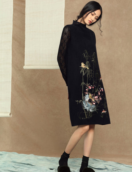 Embroidery Mandarin Collar Long Sleeve Knee Length Pullover Shift Dress