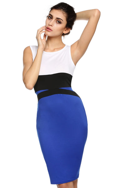 Splicing Pencil Evening Patchwork Bodycon Going Out Dress