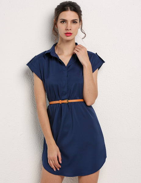 Cap Sleeve Stretch Chiffon Shirt Dress With Casual Belt