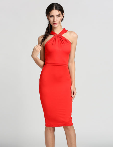 Red Halter Collar Sleeveless Bodycon Solid Going Out Dresses