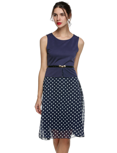 Blue Summer Vintage Celeb Belted Polka Dot Chiffon Work Dress