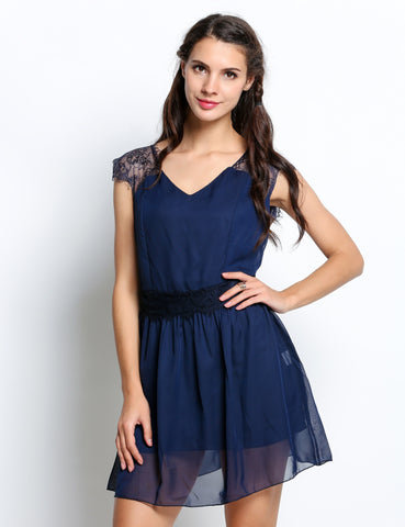 Navy blue Lace Sleeve Evening Party Cocktail Bridesmaid Dresses