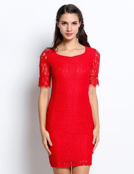 Red High Quality New Women Vintage Elegant Crochet Lace Bodycon Party Dresses