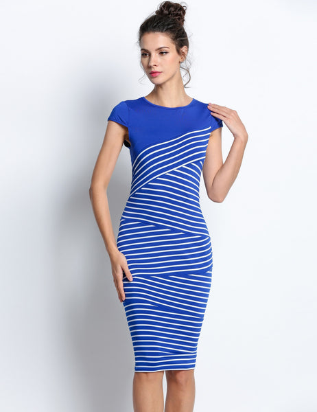 Blue Sexy V neck short sleeve Striped Tunic Going Out Dress