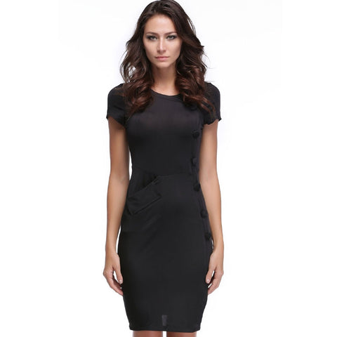 Black New Vintage Design Bodycon Fitted Party Pencil Shift Sheath Button Work Dresses