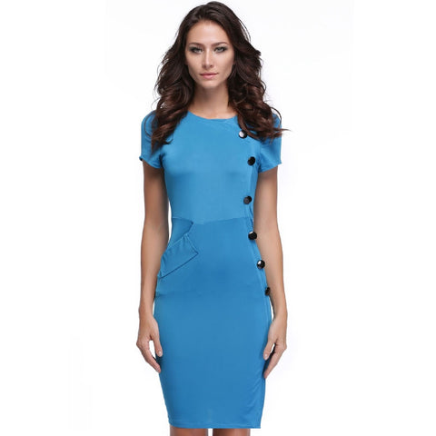 Blue New Vintage Design Bodycon Fitted Party Pencil Shift Sheath Button Work Dresses