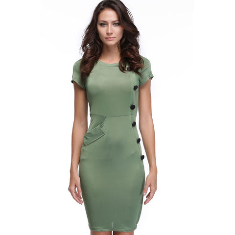 Green New Vintage Design Bodycon Fitted Party Pencil Shift Sheath Button Work Dresses