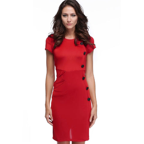 Red New Vintage Design Bodycon Fitted Party Pencil Shift Sheath Button Work Dresses