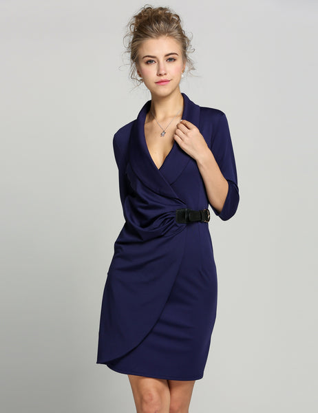 Wrap Ruched Tunic Business Pencil Work Dress