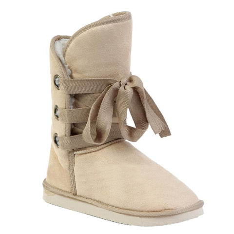 Beige Winter Faux Fur Snow Ankle Buckle Biker Boots Shoes