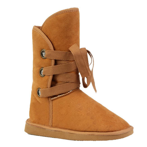 Camel Winter Faux Fur Snow Ankle Buckle Biker Boots Shoes