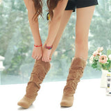 Black Lace Cuff Increased Internal Shoes Autumn Winter Boots