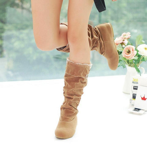 Brown Lace Cuff Increased Internal Shoes Autumn Winter Boots