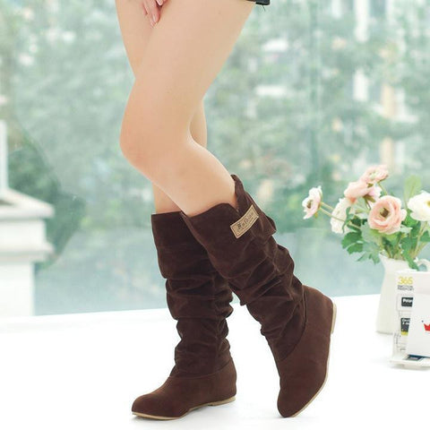 Coffee Lace Cuff Increased Internal Shoes Autumn Winter Boots