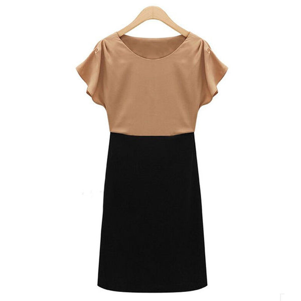 Black Stylish Lady Women Sexy Slim Round Neck Short Cap Sleeve Contrast Color Pencil Mini Work Dresses