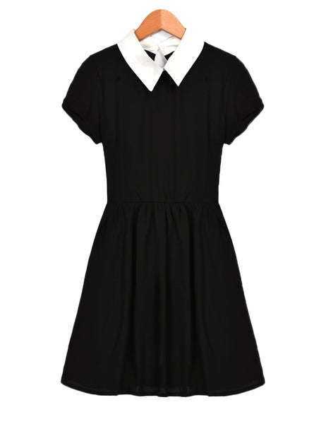 Black Women's Short Sleeve Doll Collar Chiffon Casual Dress