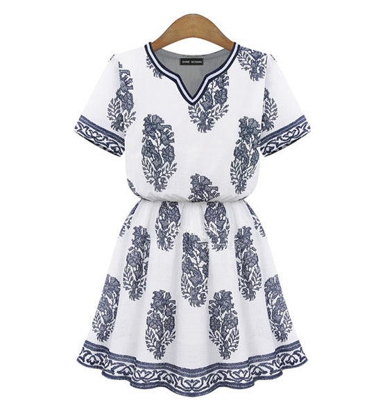 V-neck Short Sleeve Print Pleated Casual Dress