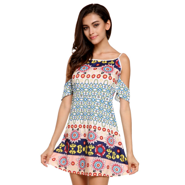 Stylish Ladies Sexy Women Casual O Neck Off-shoulder Floral Print Mini Dress