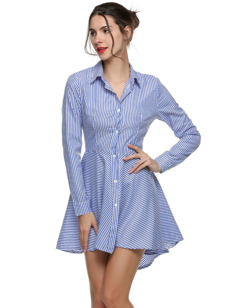 Blue&White Turn Down Neck Long Sleeve Asymmetric Hem Pleated Casual Dress