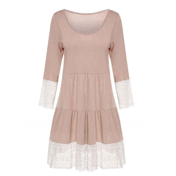 3/4 Sleeve High Waist Lace Patchwork Loose Casual Dress