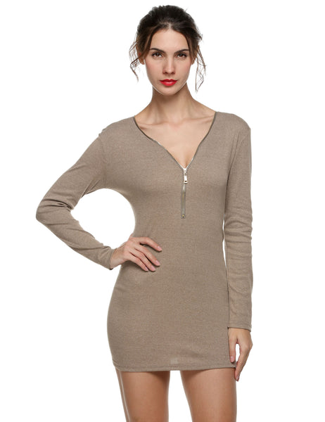 Coffee Sexy Zipper V Neck Long Sleeve Bodycon Going Out Dress