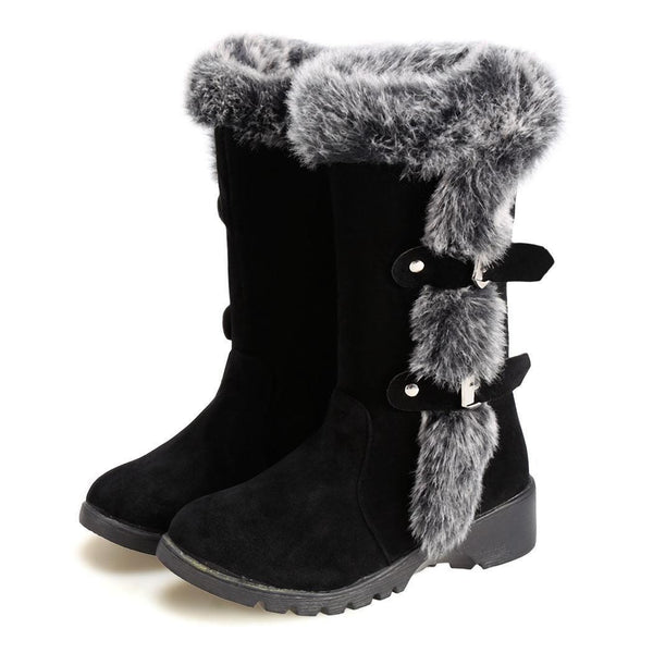 New Women Black Casual Snow Thicken Warm Faux Fur Flats Boots