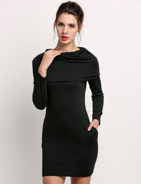 Black Women Polo Neck Package Hip Long Sleeve Pockets Plain Stretch Bodycon Hoodies & Sweatshirts Casual Dresses