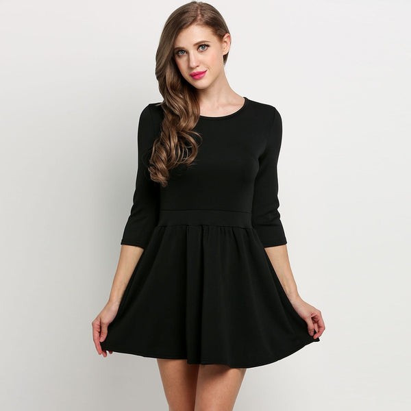 Black 3/4 Sleeve Round High Waist Solid Skater Casual Dress