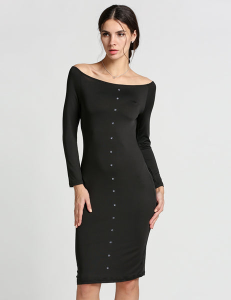 Black Off Shoulder Long Sleeve Button Bodycon Going Out Dress