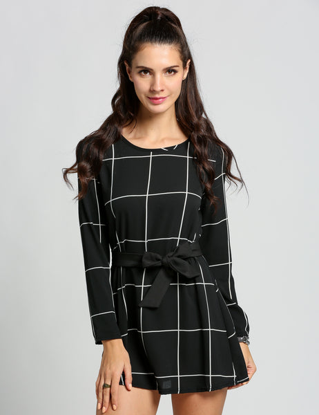 Black Women Ladies O-Neck Long Sleeve Plaid Check Print Flared Swing Casual Dresses