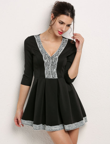 Black V Neck 3/4 Sleeve Floral Lace Splicing Skater Casual Dress